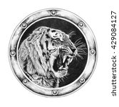 Tiger In Round Frame Isolated...