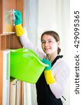 happy housewife in apron and... | Shutterstock . vector #429095365