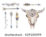 Watercolor Cow Skull With...