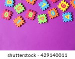 colorful kids toys on purple... | Shutterstock . vector #429140011
