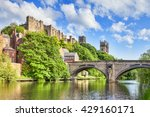 Durham Castle and Cathedral on their rock above the city, and Framwellgate Bridge spanning the River Wear, England, UK