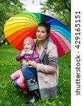 beautiful girl with her... | Shutterstock . vector #429165151