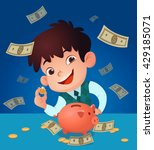 kid saving money. vector and... | Shutterstock .eps vector #429185071