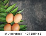 eggs on the wooden table | Shutterstock . vector #429185461