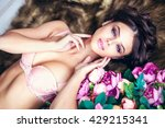 fashion portrait of beautiful... | Shutterstock . vector #429215341