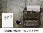 top view of stuff office desktop | Shutterstock . vector #429215599