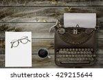 top view of stuff office desktop | Shutterstock . vector #429215644
