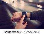 hipster girl use smart wrist... | Shutterstock . vector #429218011