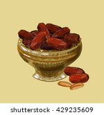 sweet dates in a nice bowl.... | Shutterstock .eps vector #429235609