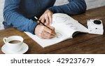 man drawing sketch design label ... | Shutterstock . vector #429237679