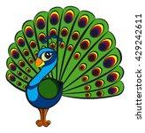 beautiful cartoon peacock.... | Shutterstock .eps vector #429242611