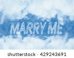Marry Me Cloud Message On Blue...