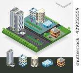 vector isometric city center... | Shutterstock .eps vector #429252559