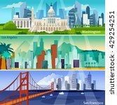 american cityscapes flat... | Shutterstock .eps vector #429254251