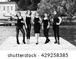 five beautiful young sexy girls ... | Shutterstock . vector #429258385