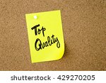 Small photo of Business Acronym Business Acronym TQ as Top Quality written on yellow paper note pinned on cork board with white thumbtack, copy space available