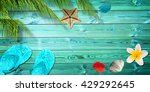 summer background with palm... | Shutterstock . vector #429292645