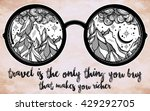 round glasses with mountains in ... | Shutterstock .eps vector #429292705