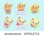 happy cartoon kitten and puppy... | Shutterstock .eps vector #429312721