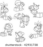 vector set of funny kids with... | Shutterstock .eps vector #42931738