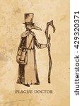 engraving   plague doctor.... | Shutterstock .eps vector #429320371