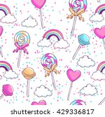 lollipops  rainbow  clouds and... | Shutterstock .eps vector #429336817