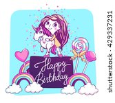 girl and magic unicorn with... | Shutterstock .eps vector #429337231