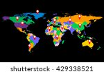 colorful world map with markers ... | Shutterstock .eps vector #429338521