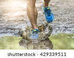 running man walking in a puddle ... | Shutterstock . vector #429339511