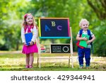 children happy to be back to... | Shutterstock . vector #429344941