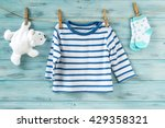 baby boy striped shirt  socks...   Shutterstock . vector #429358321