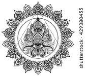 all seeing eye in ornate round... | Shutterstock .eps vector #429380455