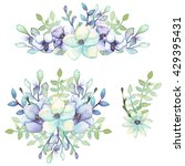 set of watercolor bouquets with ... | Shutterstock . vector #429395431