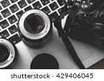 digital camera  lens and laptop.... | Shutterstock . vector #429406045
