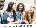 group of four friends laughing... | Shutterstock . vector #429419587