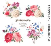 Set of vintage floral vector bouquet of peonies and garden flowers, botanical natural flowers peonies Illustration on white. Summer floral peonies greeting card, flower decoration bouquet | Shutterstock vector #429422311