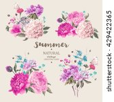 Stock vector set of vintage floral vector bouquet of peonies and garden flowers botanical natural peonies 429422365