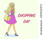 shopping day. shopping woman... | Shutterstock .eps vector #429425371