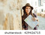 young woman  traveler  with a... | Shutterstock . vector #429426715
