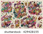 colorful vector hand drawn... | Shutterstock .eps vector #429428155