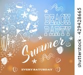 beach party. white letters and... | Shutterstock .eps vector #429428665