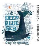 deep blue sea. hand drawn... | Shutterstock .eps vector #429438391