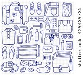 hand drawn man travel elements... | Shutterstock .eps vector #429439735