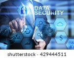 Small photo of Businessman is pressing on the virtual screen and selecting Data security.