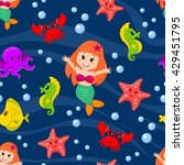 seamless pattern with mermaid... | Shutterstock .eps vector #429451795