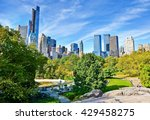 view of central park in a sunny ... | Shutterstock . vector #429458275