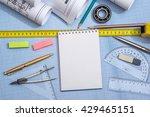 blank notepad  rolls of... | Shutterstock . vector #429465151