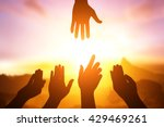 silhouette of helping hand... | Shutterstock . vector #429469261