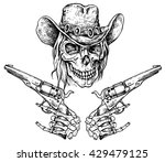 skull with pistols   hand drawn ... | Shutterstock .eps vector #429479125
