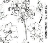 seamless pattern of  flowers... | Shutterstock . vector #429486157